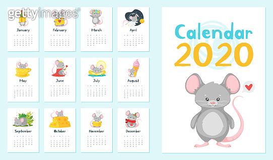 Annual calendar vector illustrations set