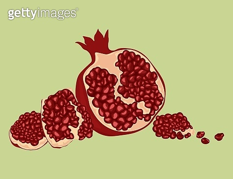 Whole and cut pomegranate icon set.