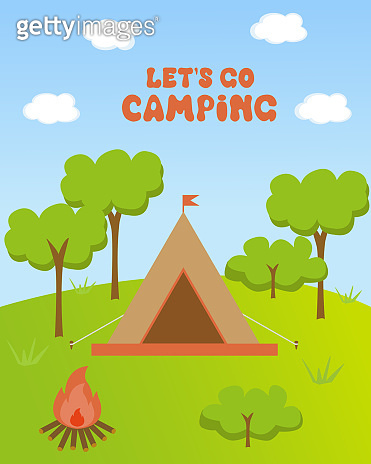 Vector card on the theme of summer vacation and camping.