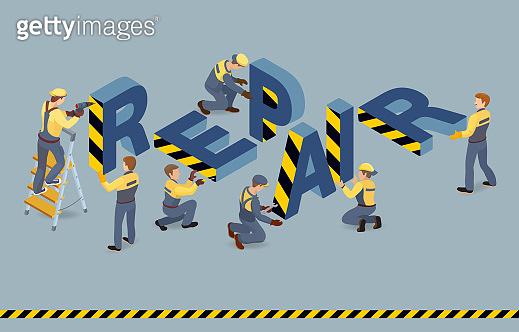 Builders installed Isometric letters Repair. Vector flat 3d illustration.