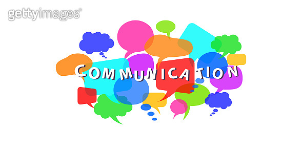 Communication concept with colorful dialogue speech bubbles on white background. Flat style vector illustration