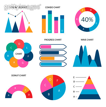 Graphs flat business data market elements. Dot bar pie charts diagrams. Icons set isolated vector illustration.