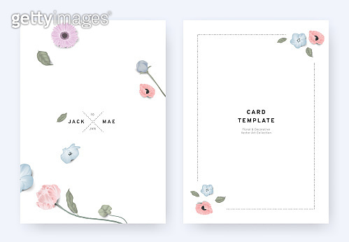 Minimalist floral wedding invitation card template design, gerbera, Nemophila, poppy, tulip and leaves with shadow on white background, pastel vintage theme