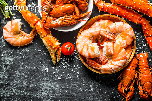 Delicious cooked shrimp, crab and crayfish.
