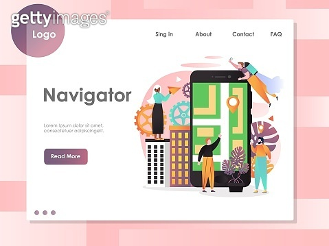 Navigator vector website landing page design template