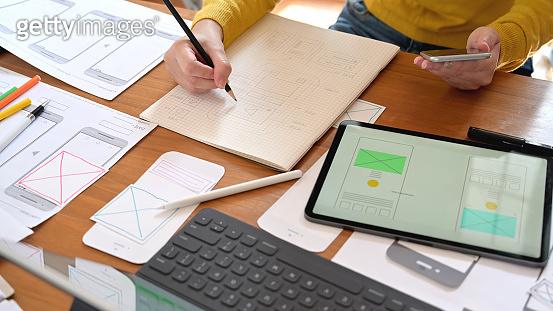UI designer working in studio office