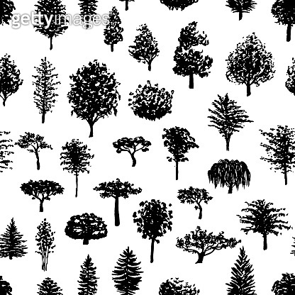 Forest trees silhouettes seamless pattern