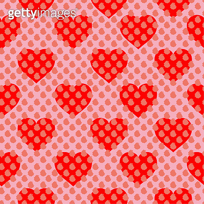Sweet mood Repeated  brush polka dots on top with red hearts in layering. Cute romantic seamless pattern. Endless vector illustration design for fashion ,fabric,web, wallpaper and all prints