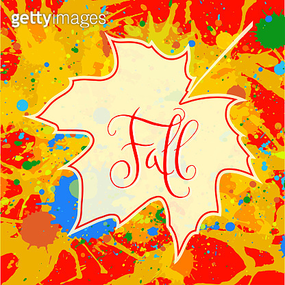 Fall and maple leaf over paint background