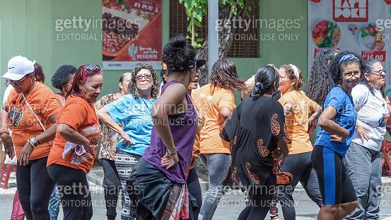 People dancing aerobics in Recife downtown