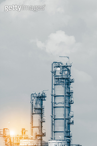 Industrial zone. Plant oil and gas refinery industry.