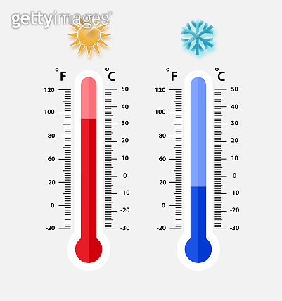 Celsius and fahrenheit meteorology thermometers measuring. heat and cold, vector illustration. Thermometer equipment showing hot or cold weather