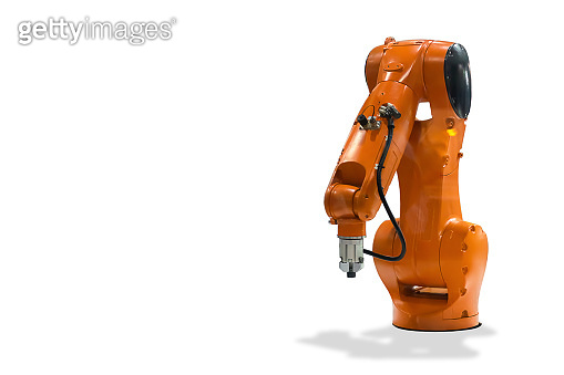 Mechanical hand Industrial robot technology on white background.