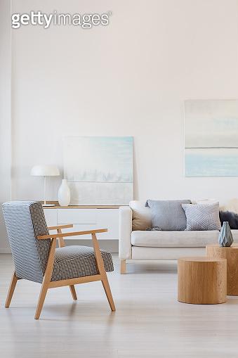 Fashionable vintage retro armchair in contemporary living room interior