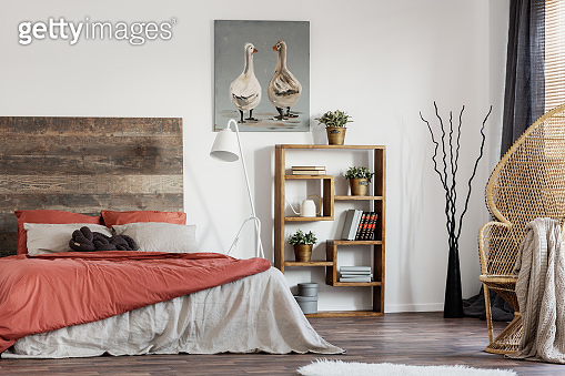 Rustic poster with two ducks, wooden bookshelf and double bed with pillows and duvet