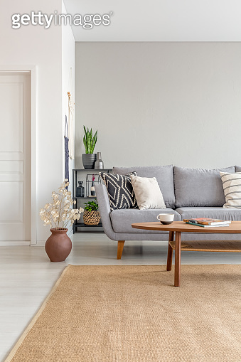 Real photo of a brown rug in an elegant living room interior with a sofa and wooden coffee table