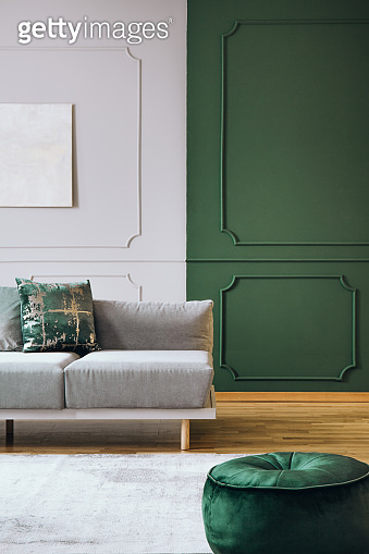 Green and grey wall with molding in chic living room interior with grey couch and wooden floor