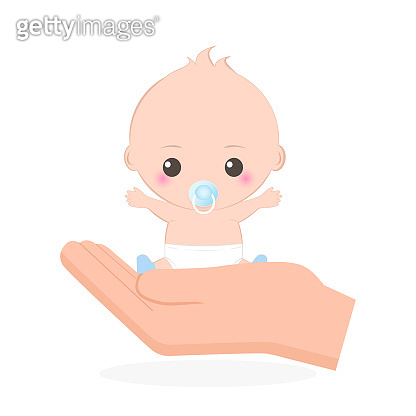 Baby in hand icon, care or protection illustration