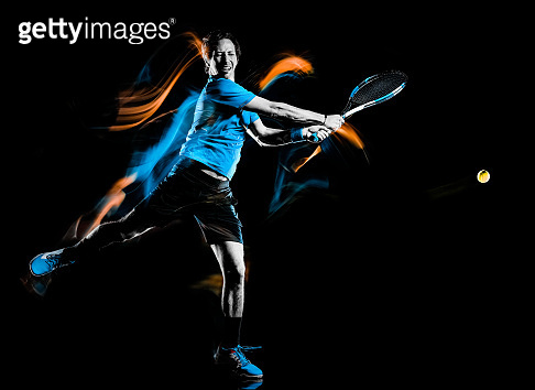 tennis player man isolated black background light painting speed motion