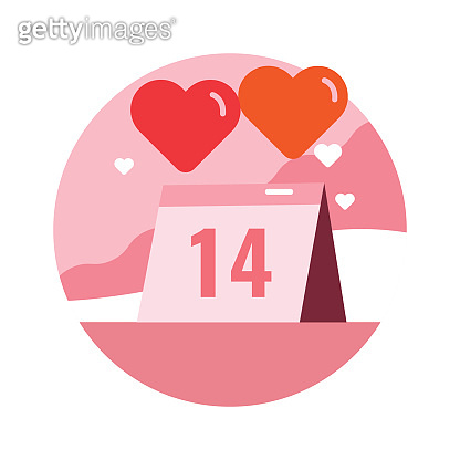 Happy valentine's day, calendar, heart balloons.
