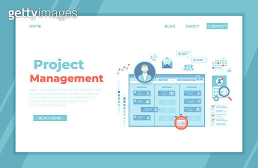 Project Management, Application Service for corporate managing, Team control, Manager, Effective distribution of tasks, Planning, Organization, Planner. landing page template, web banner. Vector