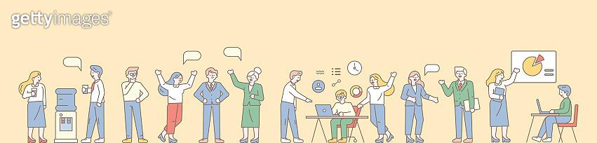 Business people, teamwork line art vector horizontal banner.