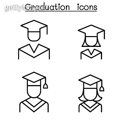 Graduation and commencement icon set in thin line style