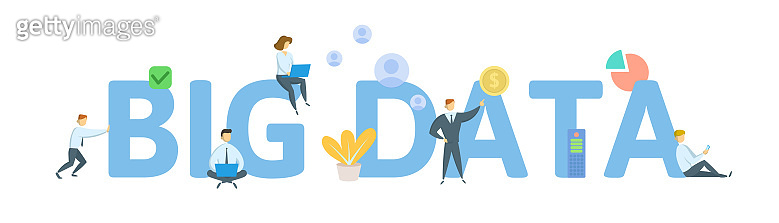 BIG DATA. Concept with keywords, letters, and icons. Flat vector illustration. Isolated on white background.