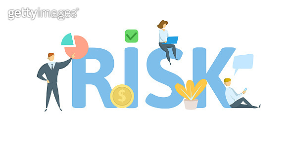 RISK. Concept with people, letters and icons. Flat vector illustration. Isolated on white background.