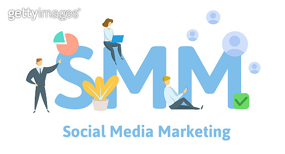 SMM, social media marketing technology. Concept with keywords, letters, and icons. Flat vector illustration. Isolated on white background.