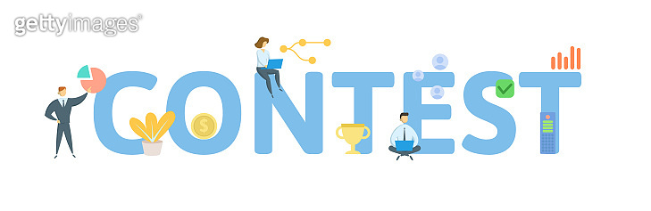 CONTEST. Concept with people, letters and icons. Flat vector illustration. Isolated on white background.