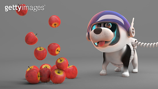 Apples float down from space to the amazement of space dog, 3d illustration