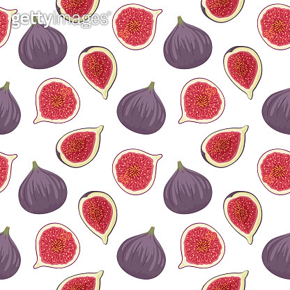 Fresh figs whole and cut in quarter and half on white background. Vector seamless pattern.