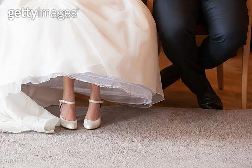 Details of bride and groom wedding footwear