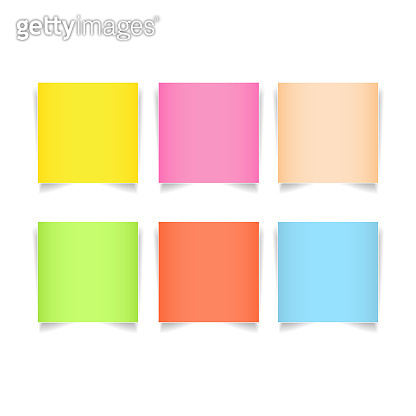 Post it paper on white background vector illustration. Green,pink,blue,yellow,orange note pad for reminding in business office.