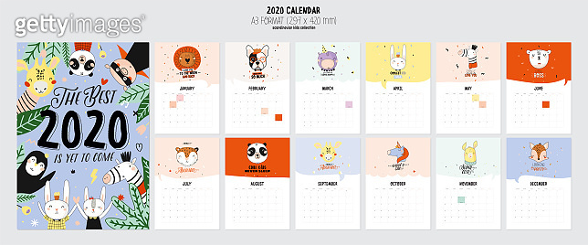 Cute 2020 Calendar. Yearly Planner Calendar with all Months.