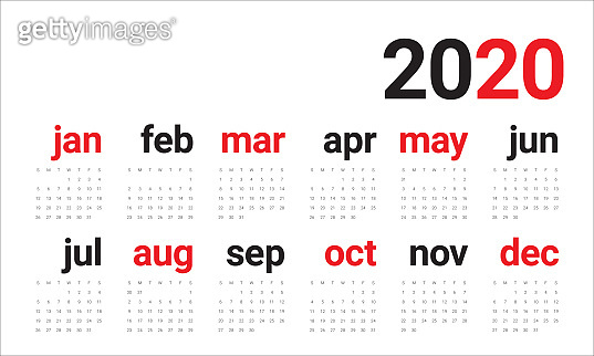 Year 2020 calendar vector design template