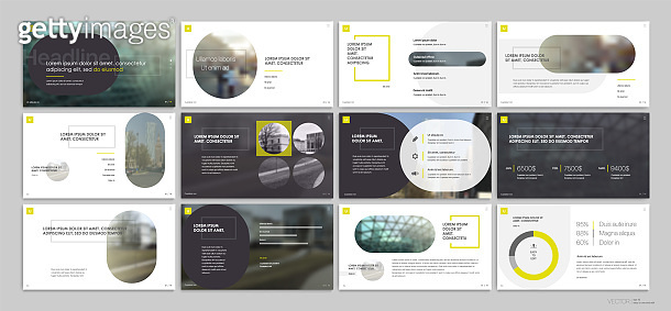 Presentation slides design with elements of infographics on a white background. Vector infographics.