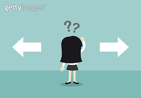 Business concept, Business woman confused about two choices. Vector illustration.