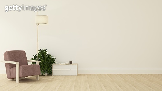 Relax space interior minimal and wall decoration empty in apartment- 3D rendering