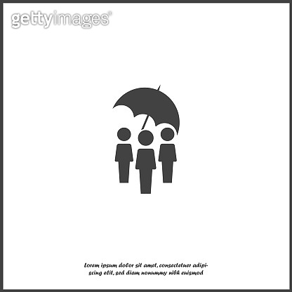 Vector people protection icon. Security symbol on white isolated background.