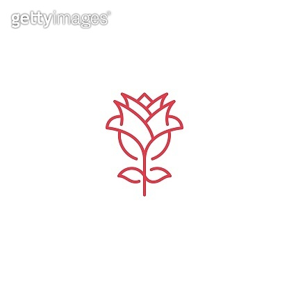 Red rose flower. Vector icon template