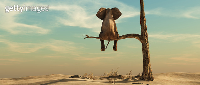 Elephant stands on thin branch of withered tree in surreal landscape. This is a 3d render illustration