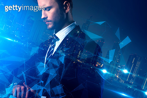 business successful vision with smart caucasian man in suit with virtual connecting line color tone strategy and organization ideas concept