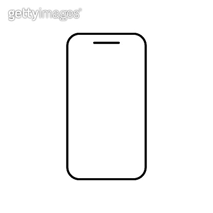 Icon Phone outline line in black color