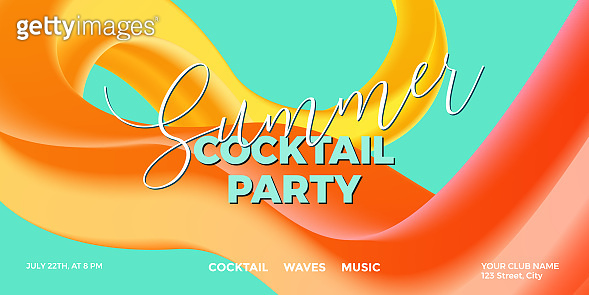 Trendy design template with fluid and liquid shapes. Summer colorful gradient background. Applicable for covers, posters, flyers, presentations, banners. Vector illustration. Eps10