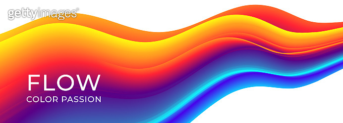 Colorful wavy flows of a fluid lines of a liquid shapes with a smooth splash of color. Eps10.