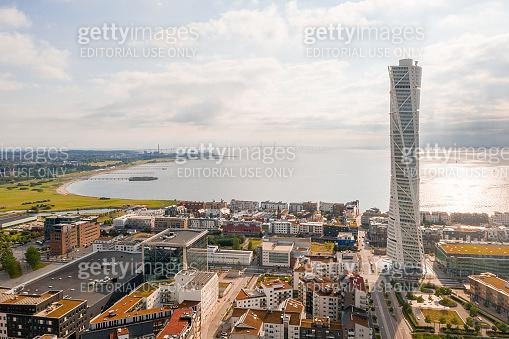 Aerial view of the Turning Torso skyscraper in Malmo.
