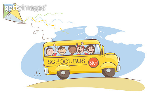 Cheerful kids on the school bus