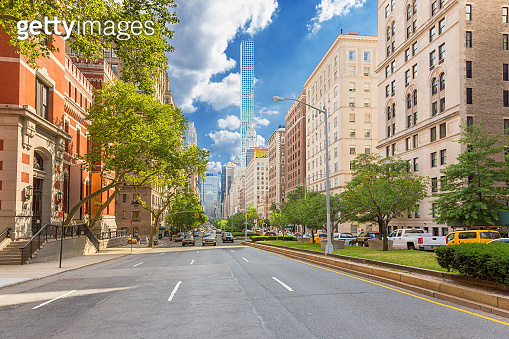 Park Avenue with Elite Co-op and Condominium Buildings, Manhattan Upper East Side, New York City, USA.